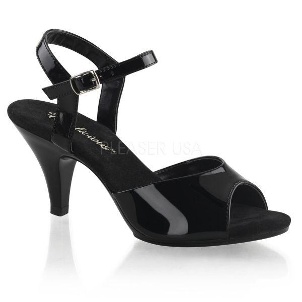 BELLE-309 Klassische Sandalette mit Riemchen schwarz Lack